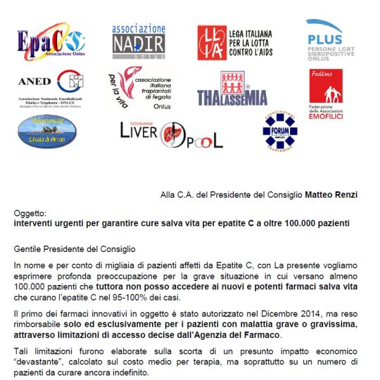 Le Associazioni di migliaia di pazienti affetti da Epatite C scrivono a Matteo Renzi
