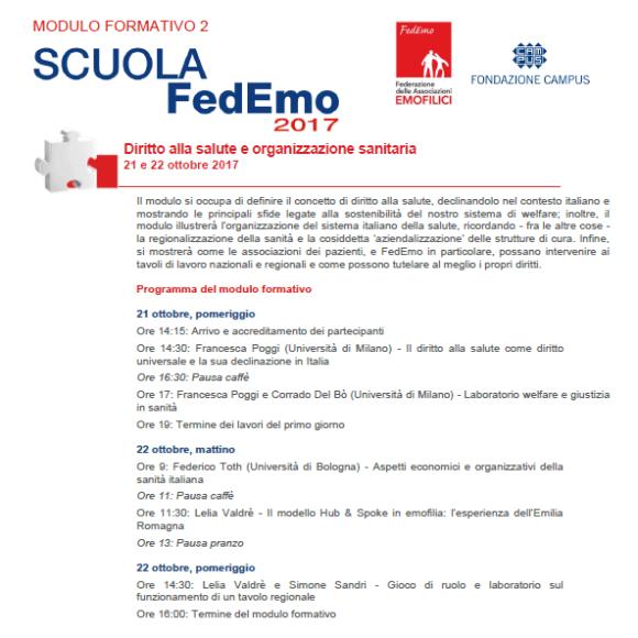 Programma scuola FedEmo 2017 –  Secondo modulo